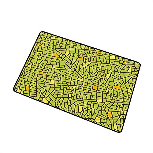 (Printed Door mat Green Conceptual Stained Glass Design Mosaic Pavement Cracked Like Pieces W30 xL39 Indoor Outdoor, Waterproof, Easy Clean Apple Green Mustard Brown)
