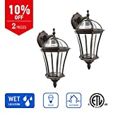 IN HOME 1-Light Outdoor Exterior Wall Down Lantern, Traditional Porch Patio Lighting Fixture L06 with One E26 Base, Water-Proof, Bronze Cast Aluminum Housing, Clear Glass Panels, (2 Pack) ETL Listed