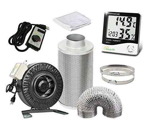 Hongville 6 Inch 440 CFM Inline Fan with Speed Controller, 6 Inch Carbon Filter and 8 Feet Ducting Combo w/o 2 clamps For Grow Tent Ventilation System (6 Inch, Regular) (16' Scrubbers)