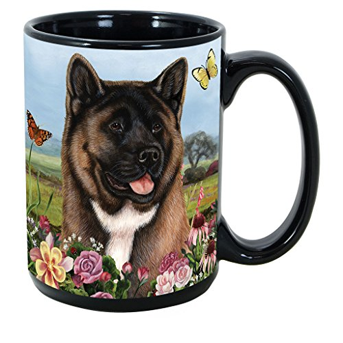(Akita) Garden Party 15 Oz Black Coffee Cup Mug, Dog & Cat Pet Gift, For Extreme Animal Lovers! (Akita Coffee Mug)
