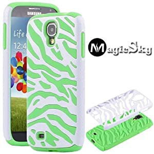 MagicSky Plastic Silicone Hybrid White Zebra Case for Samsung Galaxy IIII S4 i9500 - 1 Pack - Retail Packaging - Green