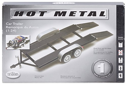 1/24 Tandem Car Trailer Plastic Model Kit with Metal Body