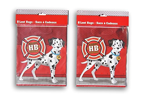 Fire Truck Dalmatian Dog Party Favor Loot Bags - 16 Count