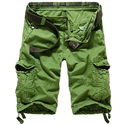 Juanshi Fathers Day Casual Cargo Short Color Grass Green