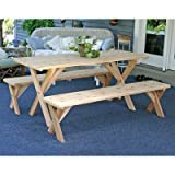 5′ Backyard Bash Cross Legged Picnic Table (Natural) (30″H x 60″W x 27″D) For Sale