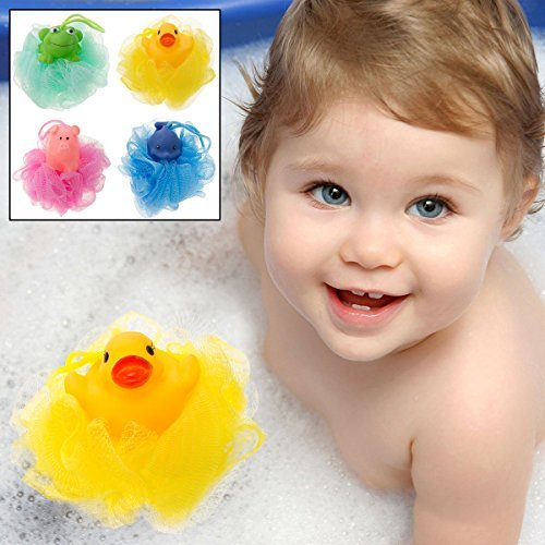 UPC 769898414237, 4 Kids Swissco Mesh Bath Sponges Animals Body Frog Duck Dolphin Pig Toy Loofah