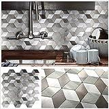 "Peel and Stick Tile Backsplash for Kitchen Wall Decor Metal Mosaic Tiles Sticker,Grey&Silver Hexagon Puzzle 12""x12"" x 5 Tiles"