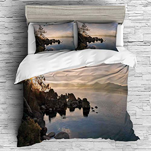 ver 2 Pillow Shams)/All Seasons/Home Comforter Bedding Sets Duvet Cover Sets for Adult Kids/Singe/Lake,Lake Tahoe at Sunset with Clear Sky and Single Pine Tree Rest Peaceful Weeken ()