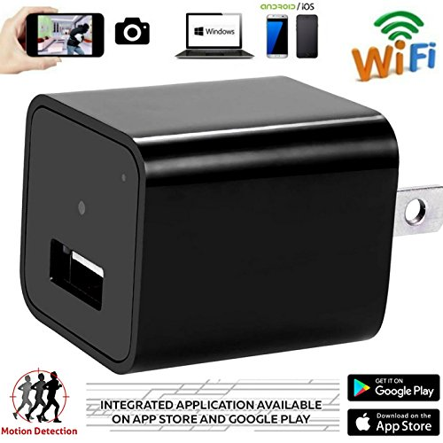 FifiSpectrum Wifi Camera Wireless USB Hidden Spy Nanny 1080P HD Charger Camera With 8GB and Travel Adapter,Motion Detection Activated,Support iPhone,IOS and Android App Live Video,Home Security