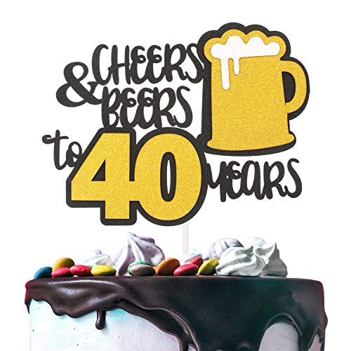 Cheers & Beers to 40 Years Gold Glitter Cake Topper Happy Birthday Wedding Anniversary 40th Party Decoration - 7'' x 8'' Forty Bday Topper. (Best Place To Sell Carnival Glass)