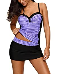 Womens Two Piece Bathing Suits Push up Printed Tankini...
