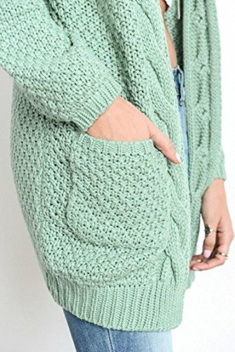 Aperto Cappotto Tasca Con Verde Maglia Anteriore Cnfio Lungo Cardigan Maglione Donne wUgZf