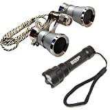 HQRP 3x25 Opera Glasses w/Crystal Clear Optic Platinum Pearl w/Necklace Chain + Ultra Bright Flashlight