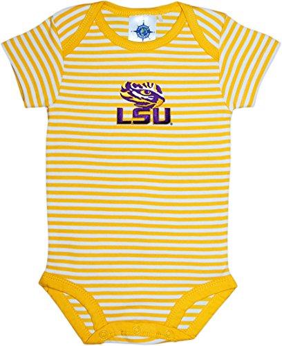 Louisiana State University Tigers Striped Newborn Baby Bodysuit, Gold, 12 Months ()