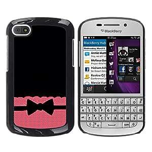 iKiki Tech / Estuche rígido - Tie Bow Bowtie Black Pattern Polka - BlackBerry Q10