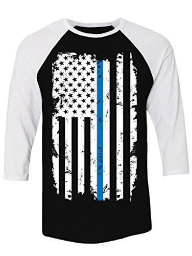 Manateez Unisex Tattered Blue Line Law Enforcement Flag Raglan Tee Shirt XL Black/White (Raglan Flag Tee)