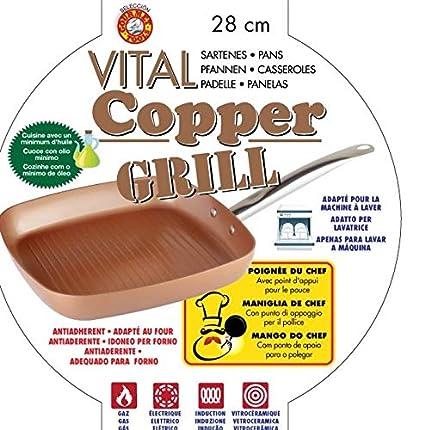 XSQUO Useful Tech SARTEN Y Plancha Grill DE 28cm. Apta para INDUCCIÓN. Vital Copper Gourmet Tools