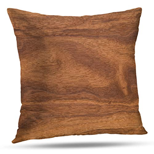 Geericy Rustic Texture Decorative Throw Pillow Covers, Walnut Wood Texture Dark Black Walnut Wood Texture with Natural Pattern for Design and Decoration Cushion Cover 18X18 Inch for Bedroom Sofa