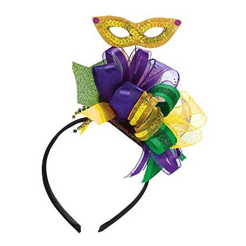 Mardi Gras Party Bow Headband with Ribbon, 10