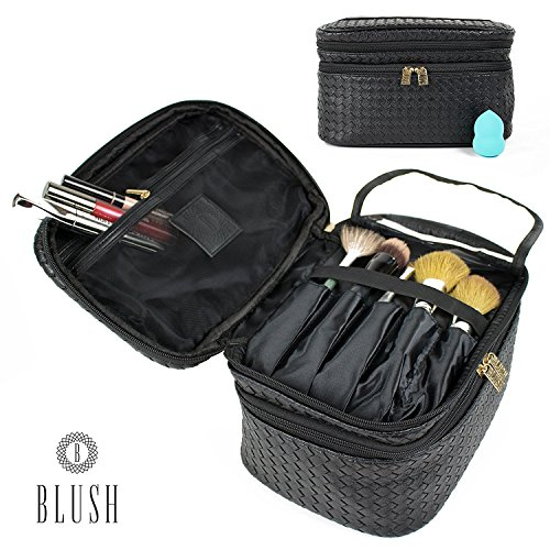 Cosmetic Makeup Bag & Organizer for Women | Train Case Style with Double Zipper | Portable Travel Kit Organizer for Brushes & Toiletries + FREE Blender Sponge (Zipper Organizer Double)