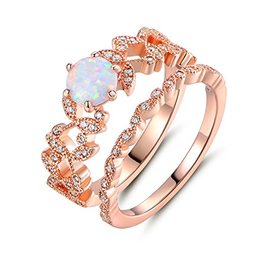 Barzel Rose Gold Plated Created Fire Opal & Cubic Zirconia Bridal Ring Se (7)