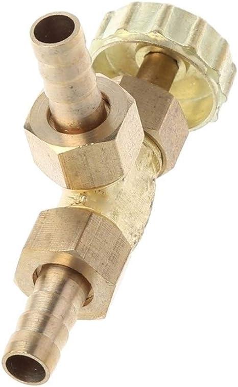 BAIJIAXIUSHANG-TIES Valves Fittings Elbow Brass Needle Valve 8mm Propane Butane Gas Adjuster Barbed Spigots 1