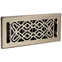 Decor Grates FUH410-NKL 4-Inch by 10-Inch Fusion Plated Floor Register, Nickel