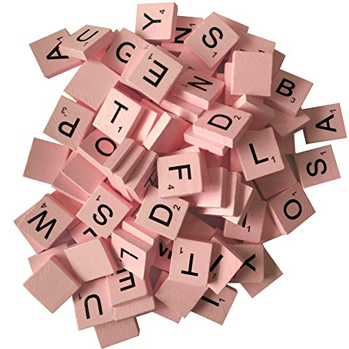 200 Wood Letter Scrabble Tiles - Pink Color - 2 Complete Sets - Game Replacement Crafts Weddings Scrapbooking