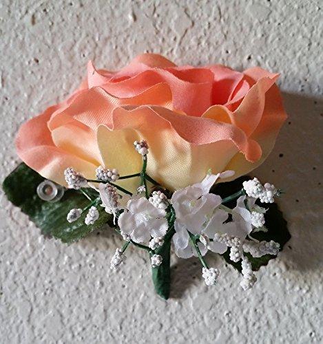 (Peach Velvet Rose Corsage or Boutonniere)