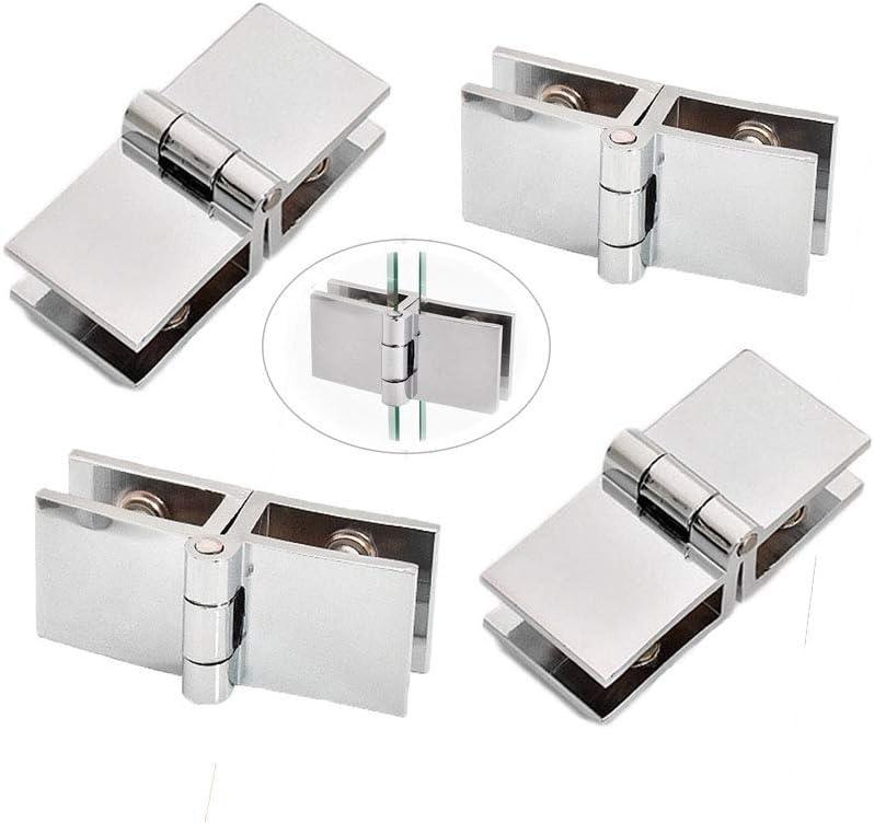 4pcs 180 grados Grosor de Cristal Bisagras, Acero Inoxidable Cristal Bisagras Puertas, Soporte para estante de cristal vidrio, baño, ducha, armario, muebles, cristal Bisagra(5 – 8 mm)