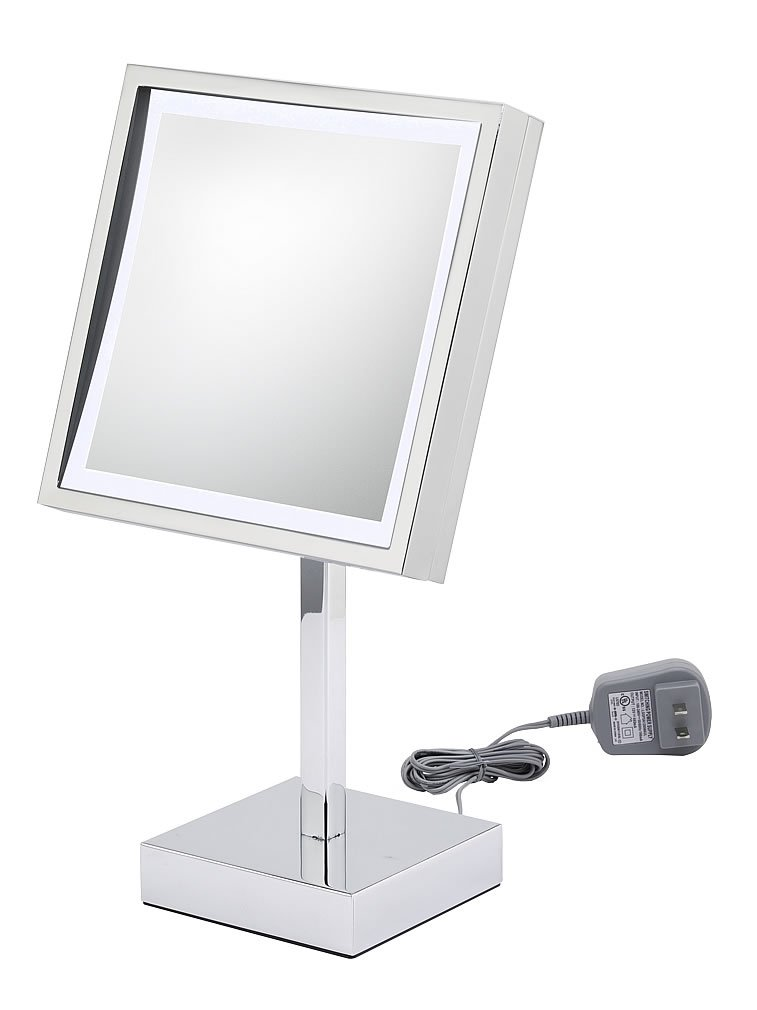 Kimball & Young 71243 Single Sided LED Square Wall Mirror, Chrome