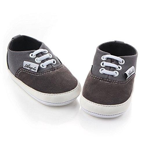 Huluwa Baby Shoes Non-slip First Walking Shoes, Rubber Sole Canvas Shoes for Baby Boys Girls, Safe and Comfort, Gray - Image 1