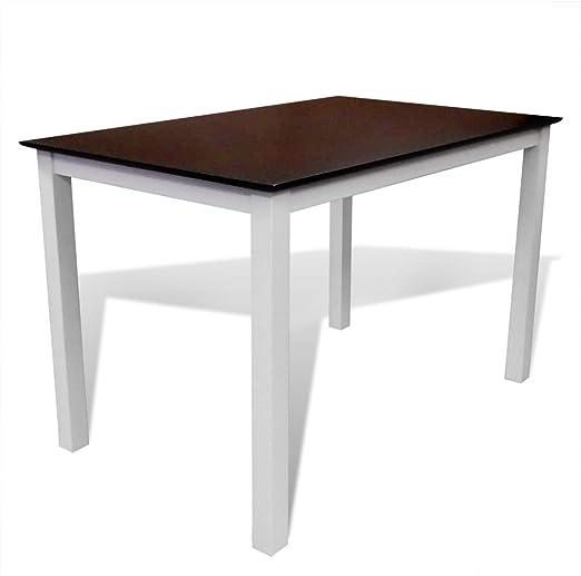 Amazon De Vidaxl Esstisch Esszimmer Tisch Kuchentisch Massivholz 110 Cm Braun Weiss