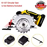 Rendio 20V Portable Circular Saw, Cordless, 7000 RPM 6-1/2″ Saw Blade with Lightweight Safety Guard, Laser Guide and Guide Ruler, Li-ion Battery and Charger Adapter Included Review