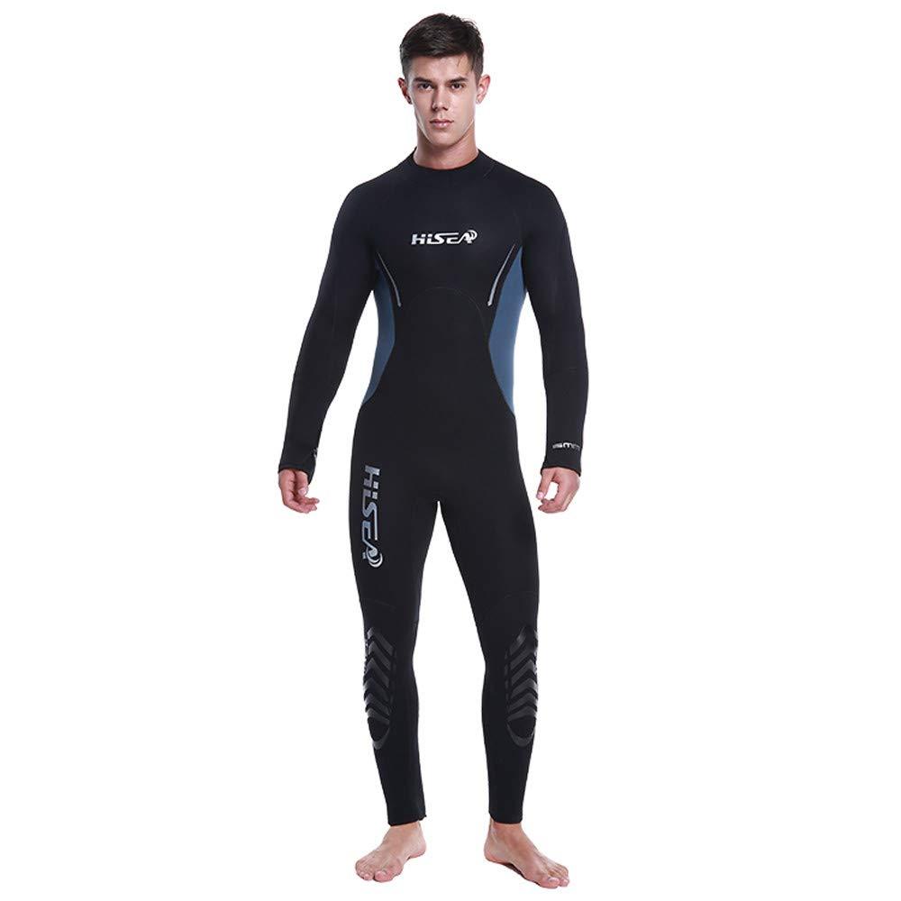 Vithconl Cloths メンズ フルボディ 薄型 ウェットスーツ UV保護 長袖 5mm ダイビングスーツ 水泳/スキューバダイビング/シュノーケリング/サーフィン用 ワンピース ブラック X-Small