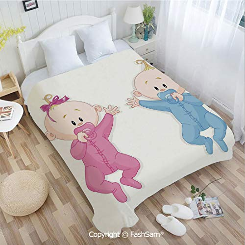 PUTIEN Flannel Fleece Blanket with 3D Babies Lie and Keep The Pacifiers Lovely Toddlers Sweet Childhood Sofa Blanket for Bedroom(49Wx59L)