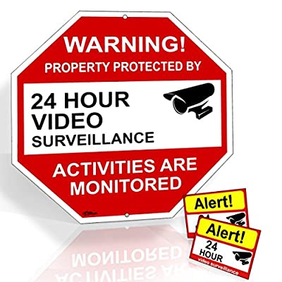 "Video Surveillance Sign From Aluminum12""X12"" Warning! Property Protected By 24 Hour Video Surveillance Legend,And 2 Video Surveillance 3.5""X2.5"" Decals-12 months warranty By Rivit's Gadget by Rivit's Gadget"