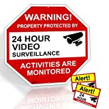 Video Surveillance Sign From Aluminum 12''X12'' & 2 Warning Under Video Surveillance Camera Stickers Signs For Home Yard & Business Security UV & waterproof Rust Free 1 YEAR WARRANTY -Rivit's Gadget