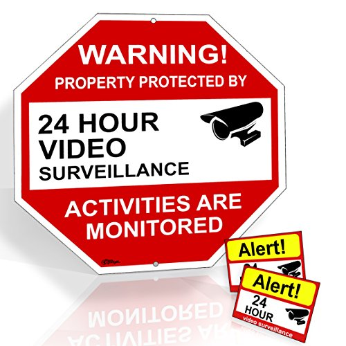 Video Surveillance Sign From Aluminum 12'X12' & 2 Warning Under Video Surveillance Camera Stickers Signs For Home Yard & Business Security UV & waterproof Rust Free 12 month warranty-Rivit's Gadget