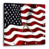 3dRose A Close Up of A Wavy Patriotic American flag In Red, White, and Blue – Wall Clock, 10 by 10-Inch (dpp_125032_1) For Sale