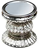 Candle Holder **Best Buy Deals** Amazing Decorations - SouvNear Handmade Festive Silver Ribbed Glass Pillar Candle Holder / 4 inches Candle-Stand - Home Decor Accessories
