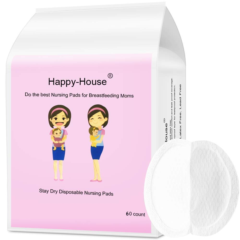 Happy-House 60 Counts Stay Dry Disposable Nursing Pads for Breastfeeding