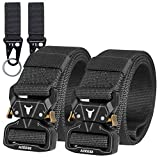 2PCS Tactical Belt,1.5' Webbing Riggers Web Nylon Belt Quick-Release Metal Buckle for Father's day Gift