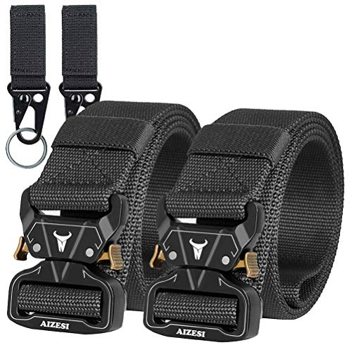 AIZESI Pack of 2 Tactical Belt,Military Combat Sports Belts,Nylon Belts with Metal Buckle Quick Release,Belts Fancy Work Hiking Gift for Dad, Brother and Friends ()
