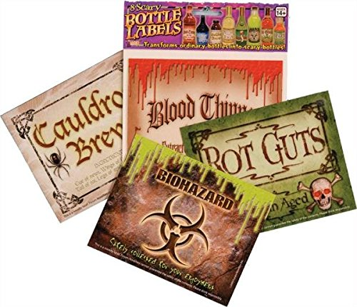 Forum Novelties, Scary Bottle Labels (8/Pkg) Prop Decoration One Size, -