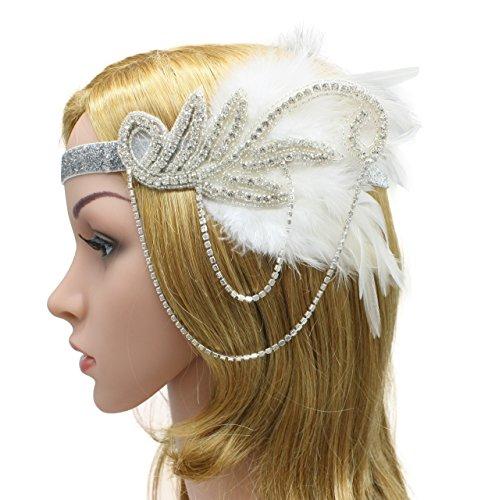 Zivyes 1920s Gatsby Flapper Feather Headband 20s accessories Crystal Beaded Wedding Headpiece(C) (Flapper Girls 1920)