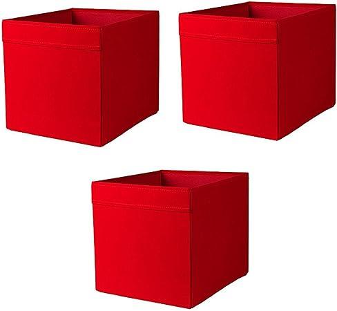 Ikea Drona Box, roja (Pack de 3): Amazon.es: Hogar