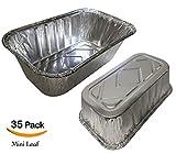 """35 Pack – 1LB Sturdy Mini Loaf Pans, Aluminum Pans, Bread Pans, Foil Loaf l Cake Pan, Disposable Aluminum Pans l Top bakery's choice Tin Pans - 1 Pound - 6'' X 3.5"""" x 2"""""""