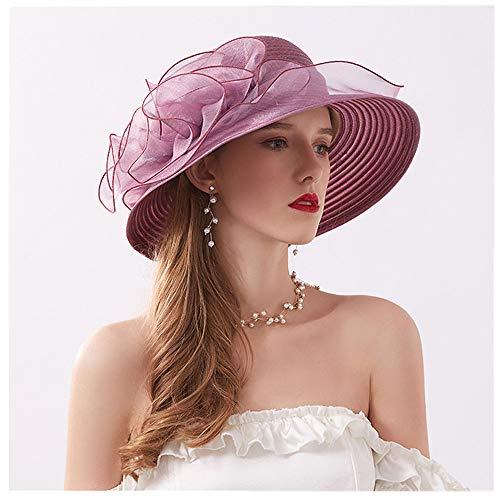 SiQing Women Mesh Hair Clip Women's Organza Church Kentucky Derby Fascinator Bridal Tea Party Wedding Hat (Purple)]()