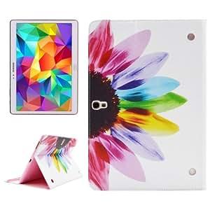 Seven Color Flower Pattern Double Sided Print Funda Leather Case Cover lápiz capacitivo para pantalla táctil con Holder & & Wallet bolsillos internos para Samsung Galaxy Tab S 10,5/T800